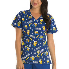 Minions Banana Nurses Scrub Top  XS S M L XL 2X 3X Minion Scrubs
