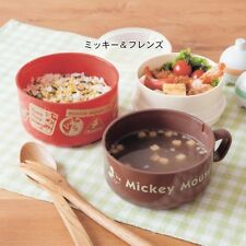 DISNEY Mickey Pooh Lunch Case Bento Case Food Container Cup Made in Japan E1853