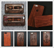 Real Natural Carved Wood Wooden Hard Case Protect Cover+Film For iPhone 6 5S