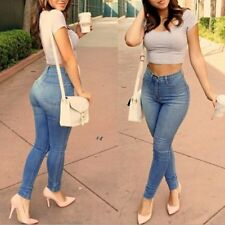 Women Sexy Pencil Denim Skinny Pants High Waist Stretch Jeans Slim Trousers