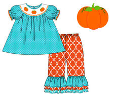 NWT Smocked Halloween Pumpkin Set in Turquoise and Orange by Smocked Shop!