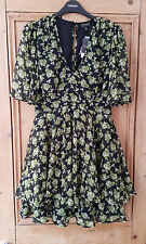 Topshop Floral Bunches Print Chiffon Tea Dress UK 10 EU 38 US 6 BNWT
