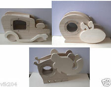 PLAIN WOODEN  MONEY BOX READY TO DECOREATE KIDS ART CRAFT CAR ELEPHANT SNAIL