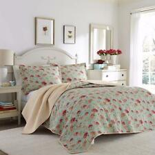 Beautiful Shabby Floral Coral Peach Blue Geranium Country Chic Cotton Quilt Set