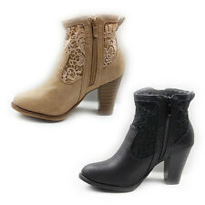 WOMENS LADIES COWBOY STYLE MID HIGH CUBAN HEEL ANKLE BOOTS SHOES SIZE 3-8