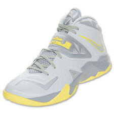 NIKE MENS ZOOM SOLDIER VII Pure Platinum/Sonic Yellow 599264 001 BASKETBALL
