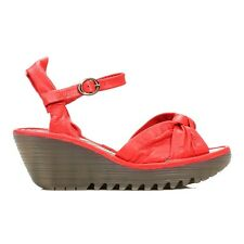 Fly London Womens Sandals Red Leather Scarlet Yeza Mousse Buckle Strappy Wedge