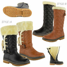 WOMENS LADIES BOOTS FLAT CALF KNEE HIGH QUILTED FUR LINED WINTER SNOW SHOES SIZE