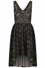 New Topshop Black Lace Dipped Hem Evening Occasion Dress,Size 4 Or 6,Rrp £58.00