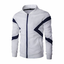 New Men's Hoodies Slim Long Sleeve Splice Zipper Tops Jackets Coats Outwear