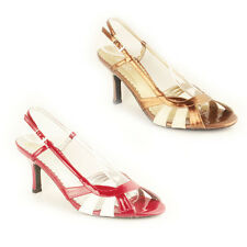 WOMENS LADIES STRAPPY SLINGBACK MID HIGH STILETTO HEEL SANDALS SHOES SIZE 3-6