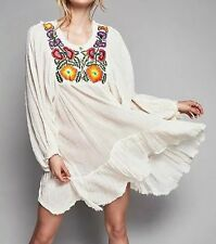 New Womens Beach Floral Embroidered Long Sleeve Mini Tunic Party Dress Size SML