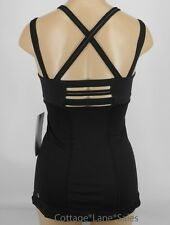 NEW LULULEMON Happy Strappy Tank 6 Black NWT Yoga Run Gym FREE SHIP