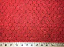 Rooster Chicken Wire Red Fabric By Yard FQ Chick Wire Farm Fence Barnyard Fabric