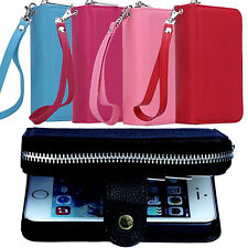 Faux Leather Zipper Card Wallet Purse Phone Case Cover Skins for iPhone Hot Sale