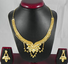 Gold Plated Necklace Earrings set Pretty Ethnic Indian Fashion Jewelry Designs
