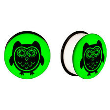 Pair of Single Flare Ear Plugs with Glow in the Dark Owl - 8 Gauge to 13/16""