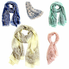 Womens Candy Pure Colour Soft Long Voile Crinkle Wrap Shawl Scarf Stole T1