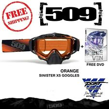 509 Sinister X5 Orange Snowmobile Goggle with Orange Tint Lens + Free Vol 10 DVD