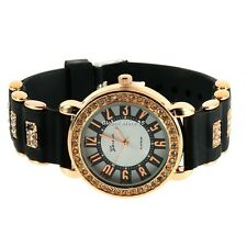 Bling Crystal Golden Women Girl Ladies Quartz Silicone Wrist Watch Strap GS