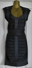 VGC French Connection Grey Ribbon Knits Bandage Bodycon Dress Size 8 RRP £120.00