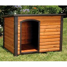 Wooden Log Cabin Dog House Raised Floor Shelter Kennel Pet Slant Roof Solid New