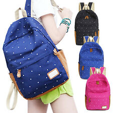 Blue Women Girls Dots Backpack Rucksack Large School Travel Shoulder Bag Canvas