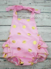 Baby Pink Gold Ruffle Romper- Pink Gold First 1st Birthday Outfit- Sequin Romper