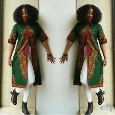 Stylish Women's African Prints Short Sleeve front split long Tops Shirt Outwear