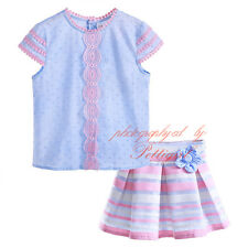 Girls Party Outfit Kids Lace Shirt Top + Flower Striped Skirt Set Princess NEW