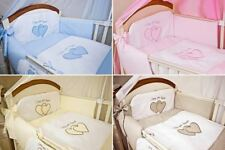 3 Pcs Embroidered Baby Nursery Bedding Set To Fit Cot/ Cot Bed - Plain Heart