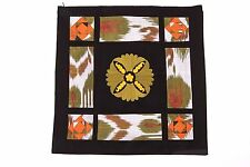 """Ikat and Suzani Embroidery Pillow Cover, """"Cosmos"""", Handmade, Fair Trade"""