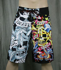 Ed Hardy Black Death or Glory Board Shorts swim Trunks