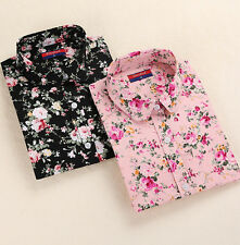 Tops Long Sleeve Shirt Collar Turn Down Blouse Floral Blouses Blouses