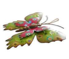 Multi Colored Decorative Metal Butterfly Home Garden Wall Art with Hanging Rope