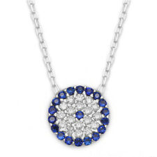 925 Sterling Silver / Gold Cubic Zirconia CZ Evil Eye Greek Mati Nazar Necklace