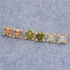 Womens square big stud earrings 18K Yellow Gold Filled Colorful CZ Earrings