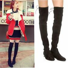 New Womens Over The Knee High Thigh Boot Roman Lace Up Faux Suede Round Toe Shoe