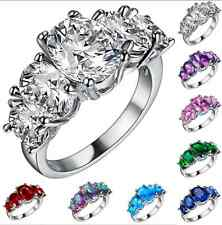 925 Sterling Silver Ring Women Oval Zircon Jewelry Christmas Gift Size 6 7 8 9