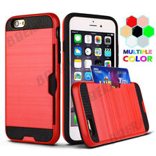 New Brushed Metal Texture Shockproof Card Slot Heavy Duty Case For Various Phone