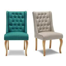 Linen Fabric Tufted Dining Chair Upholstered Side Accent Chair Wood Legs W6H6