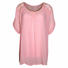 New Womens Ladies Italian Chiffon Summer Party Lace Diamente Top Blouse