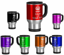 Keep Calm and Carry On, Personalised Travel Mug SILVER with YOUR TEXT,