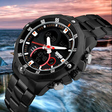 Luxury Digital LED Men Stainless Steel Sport Army Date Quartz Analog Wrist Watch