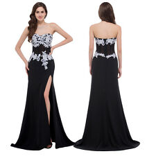 Sexy High Split Chiffon Formal Long Evening Dresses Black Prom Party Ball Gowns