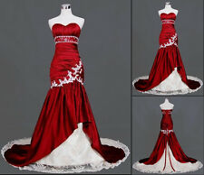 Red/White Mermaid Wedding Dress Sweetheart Bridal Gowns Stock 6 8 10 12 14 16