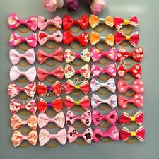 50pcs=25pair Dog handmade Hair rope Pet Bow Tie Puppy Bowknot Hair rubber bands