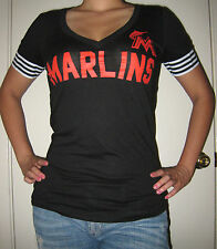 MIAMI MARLINS Victoria's Secret Baseball Shirt MLB Black V Neck Tee PINK