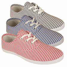 Ladies Womens Girls Lace Up Plimsolls Pumps Canvas Trainers Shoes Flat Lace Up