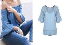New Womens Ladies Blue Denim Off Shoulder Peplum Frill Chambray Top Blouse